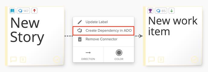 ADO Create Dependency Option Screenshot