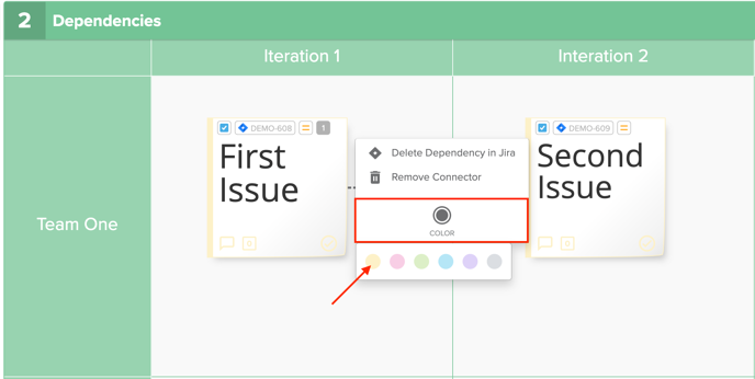 Color selector integrated dependency screenshot