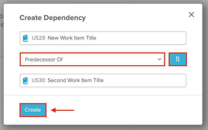 Create Dependency Rally Dialog Screenshot