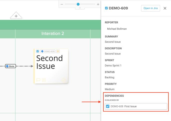 Jira Panel Dependencies Highlighted Screenshot