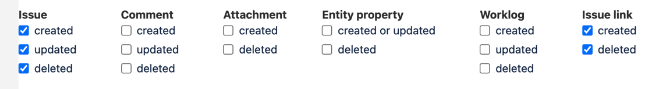 Jira Issue and Issue Link Checkboxes Screenshot