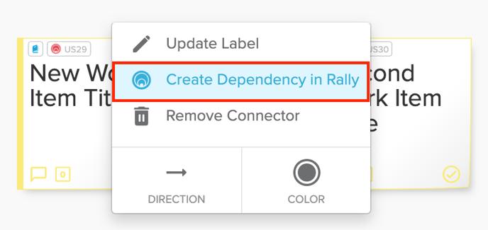Rally Work Item Create Dependency Option Highlighted Screenshot