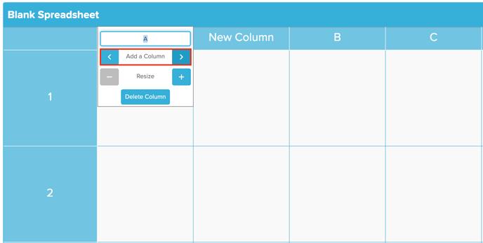 Spreadsheet Add a Column Screenshot