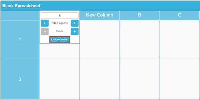 Spreadsheet Delete Column Screenshot