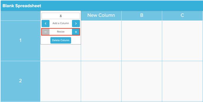 Spreadsheet Resize Column Screenshot
