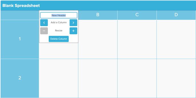 Spreadsheet Section Edit Header Screenshot
