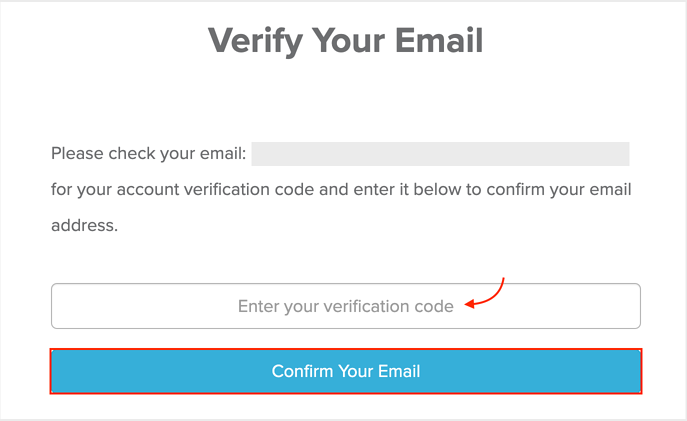 Verify Your Email Page Screenshot